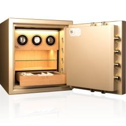 Caja fuerte de lujo Olle Ilux Design AR / AP-2 con cargador/relojero, estante de cristal, iluminación y cajón