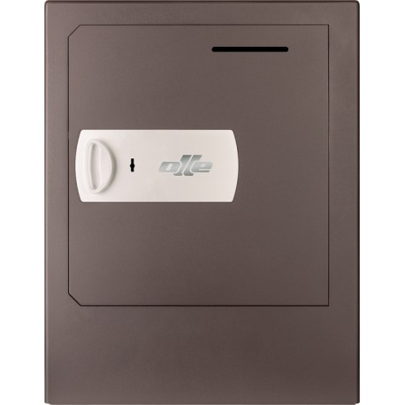 Caja fuerte con buzón y zócalo Olle S1005LL (con cerradura de llave) sobreponer. Ranura de ingreso en puerta