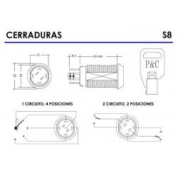 Cerraduras de llave P&C Industrias conmutadas. Llave tubular de seguridad. Conmutado con 1 o 2 circuitos y 4 posiciones